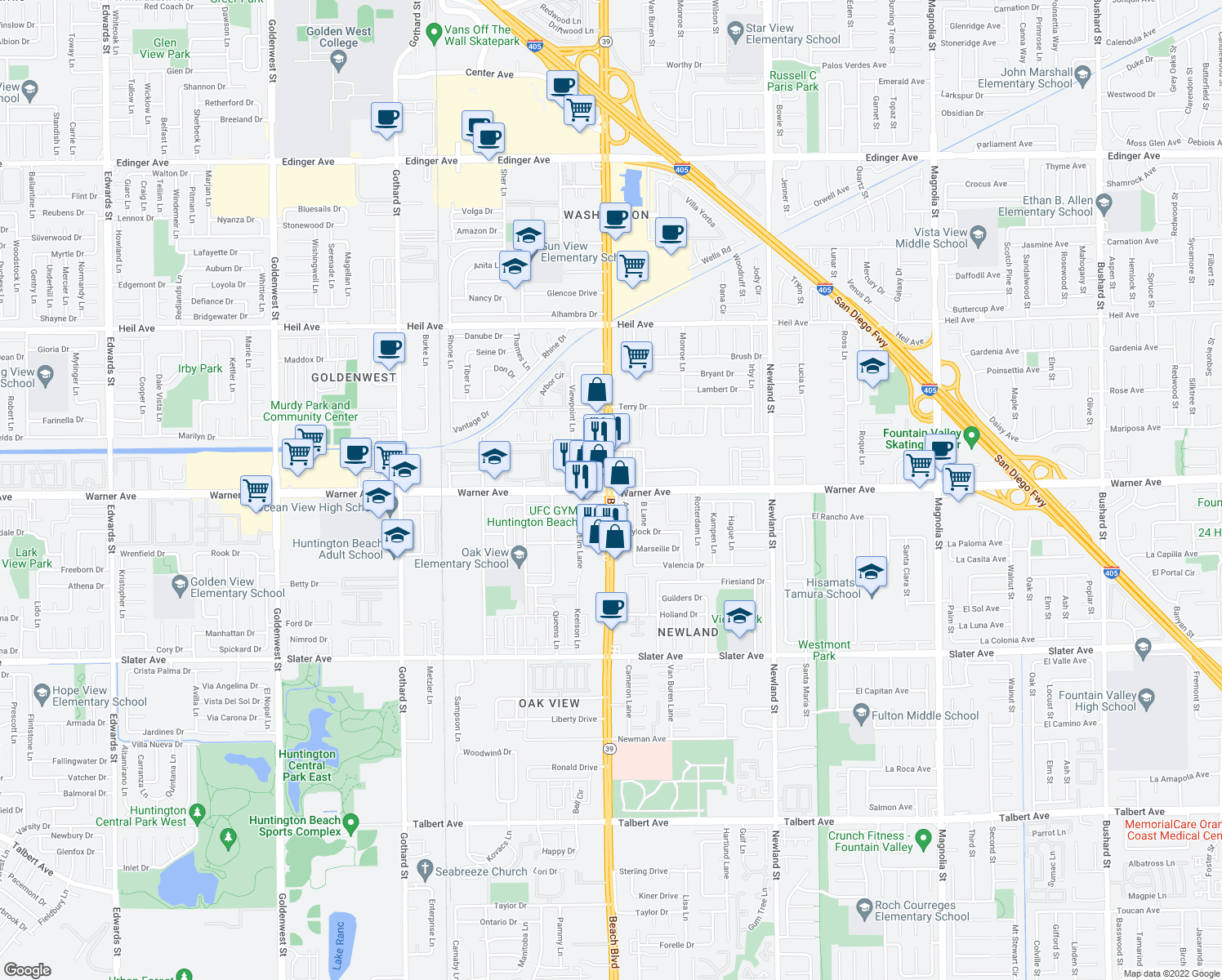 map of restaurants, bars, coffee shops, grocery stores, and more near Beach Boulevard & Warner Avenue in Huntington Beach