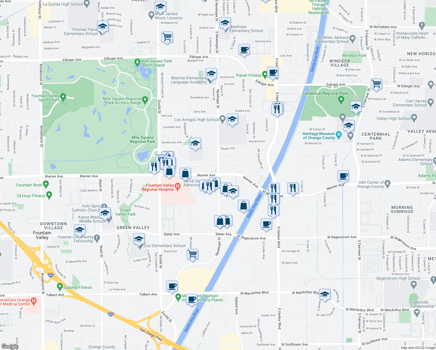 map of restaurants, bars, coffee shops, grocery stores, and more near Warner Avenue & Newhope Street in Fountain Valley