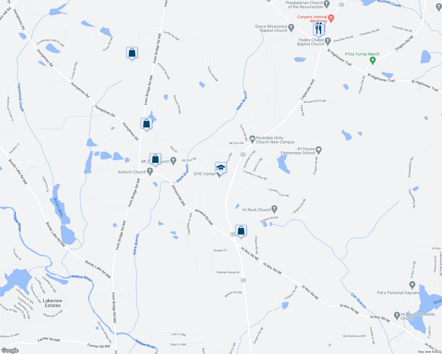 map of restaurants, bars, coffee shops, grocery stores, and more near 2930 Highway 20 in Conyers