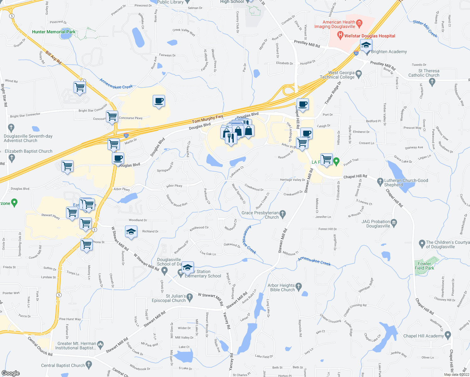 map of restaurants, bars, coffee shops, grocery stores, and more near 6801-6831 Woodcreek Lane in Douglasville
