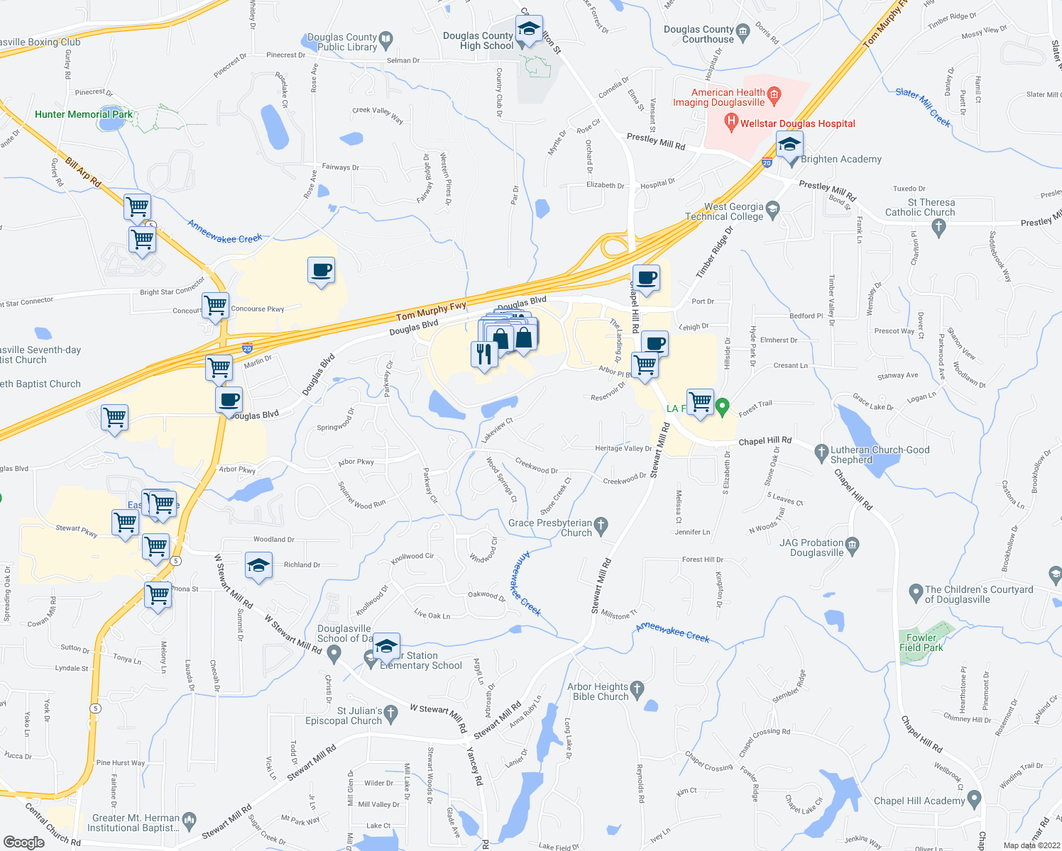map of restaurants, bars, coffee shops, grocery stores, and more near 9510 Lakeview Court in Douglasville