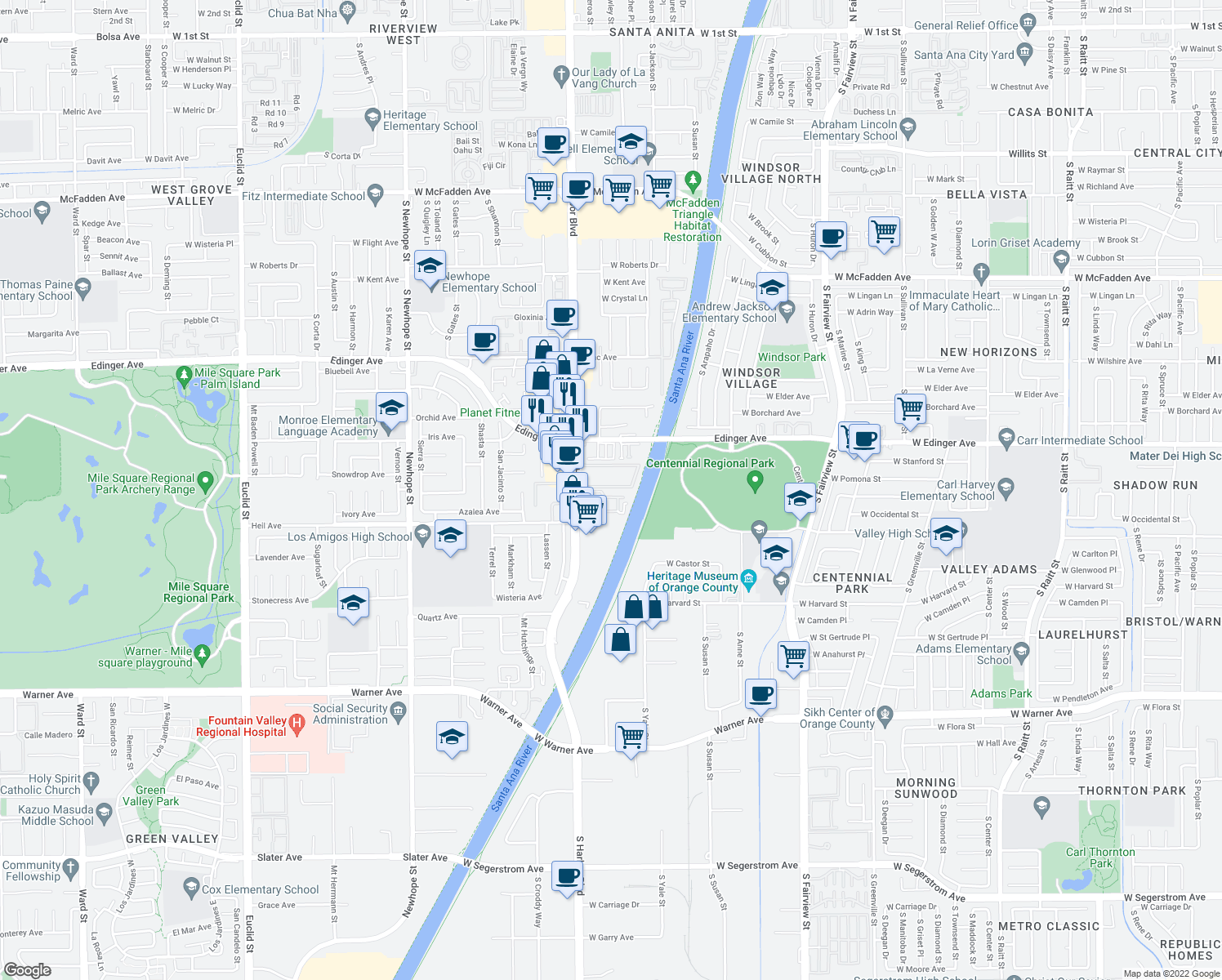 map of restaurants, bars, coffee shops, grocery stores, and more near 16440 Brighton River in Fountain Valley