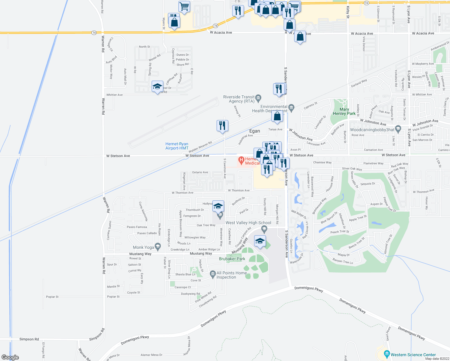 map of restaurants, bars, coffee shops, grocery stores, and more near 1040-1170 South Cawston Avenue in Hemet
