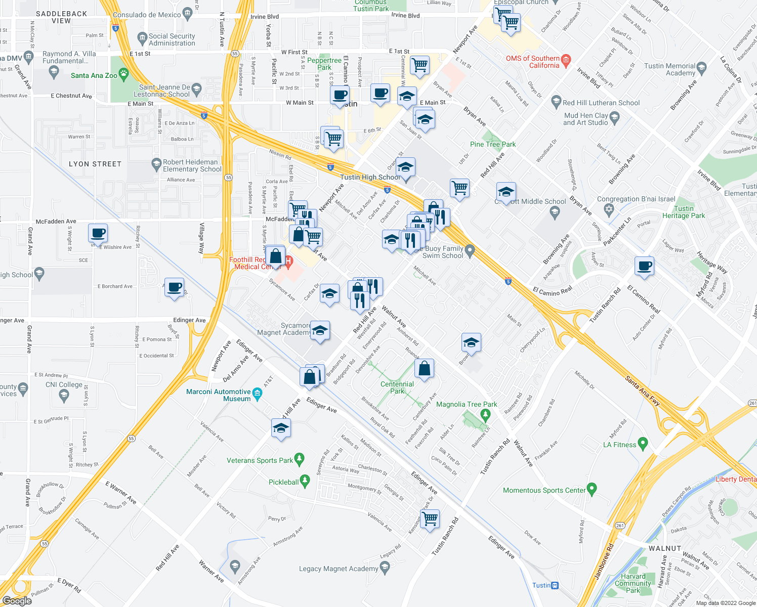 map of restaurants, bars, coffee shops, grocery stores, and more near Red Hill Avenue & Walnut Avenue in Tustin