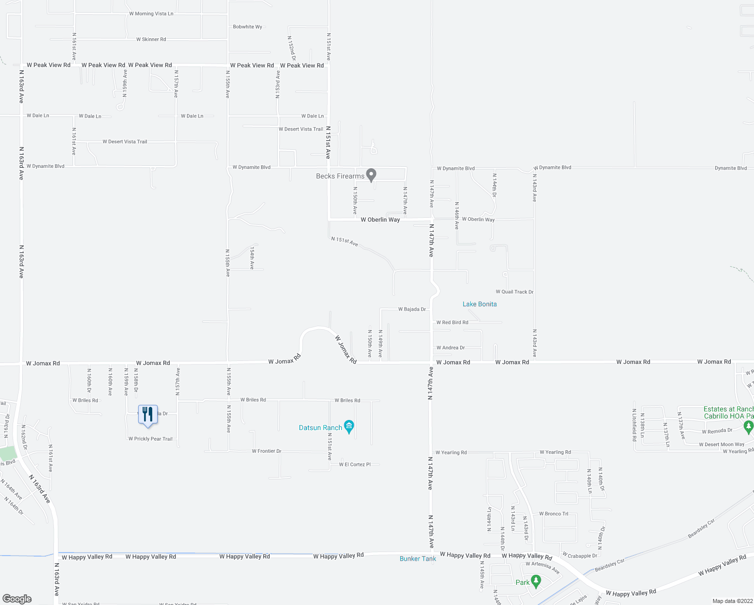map of restaurants, bars, coffee shops, grocery stores, and more near 14906 West Bajada Drive in Surprise