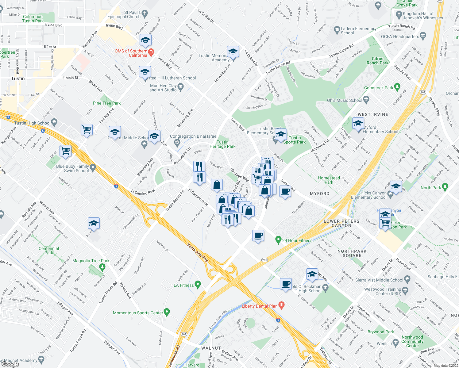 map of restaurants, bars, coffee shops, grocery stores, and more near 13452 N Bowers Ct in Tustin
