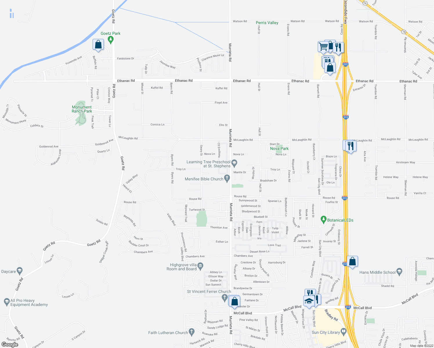 map of restaurants, bars, coffee shops, grocery stores, and more near 26797 Calle Emiliano in Menifee
