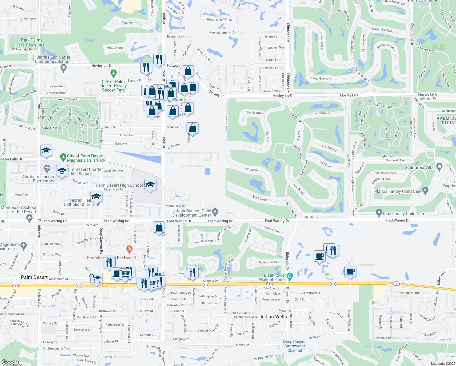 map of restaurants, bars, coffee shops, grocery stores, and more near 75584 Via Cortona in Indian Wells
