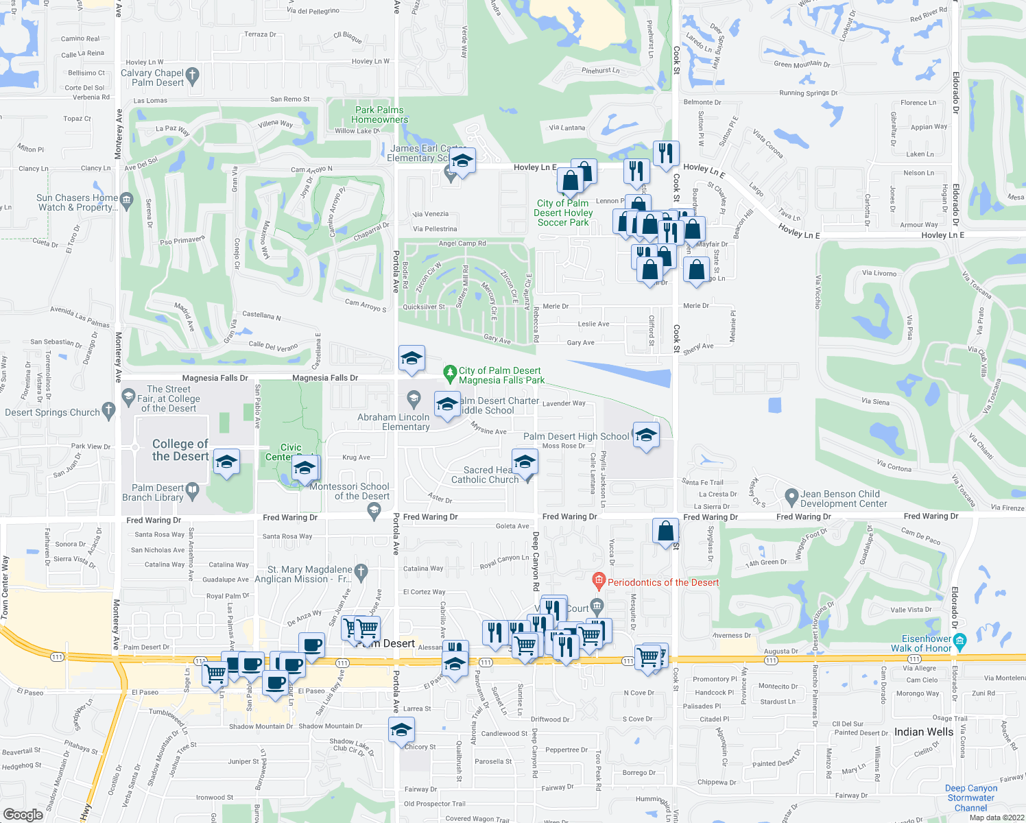 map of restaurants, bars, coffee shops, grocery stores, and more near 74410 Buttonwood Drive in Palm Desert