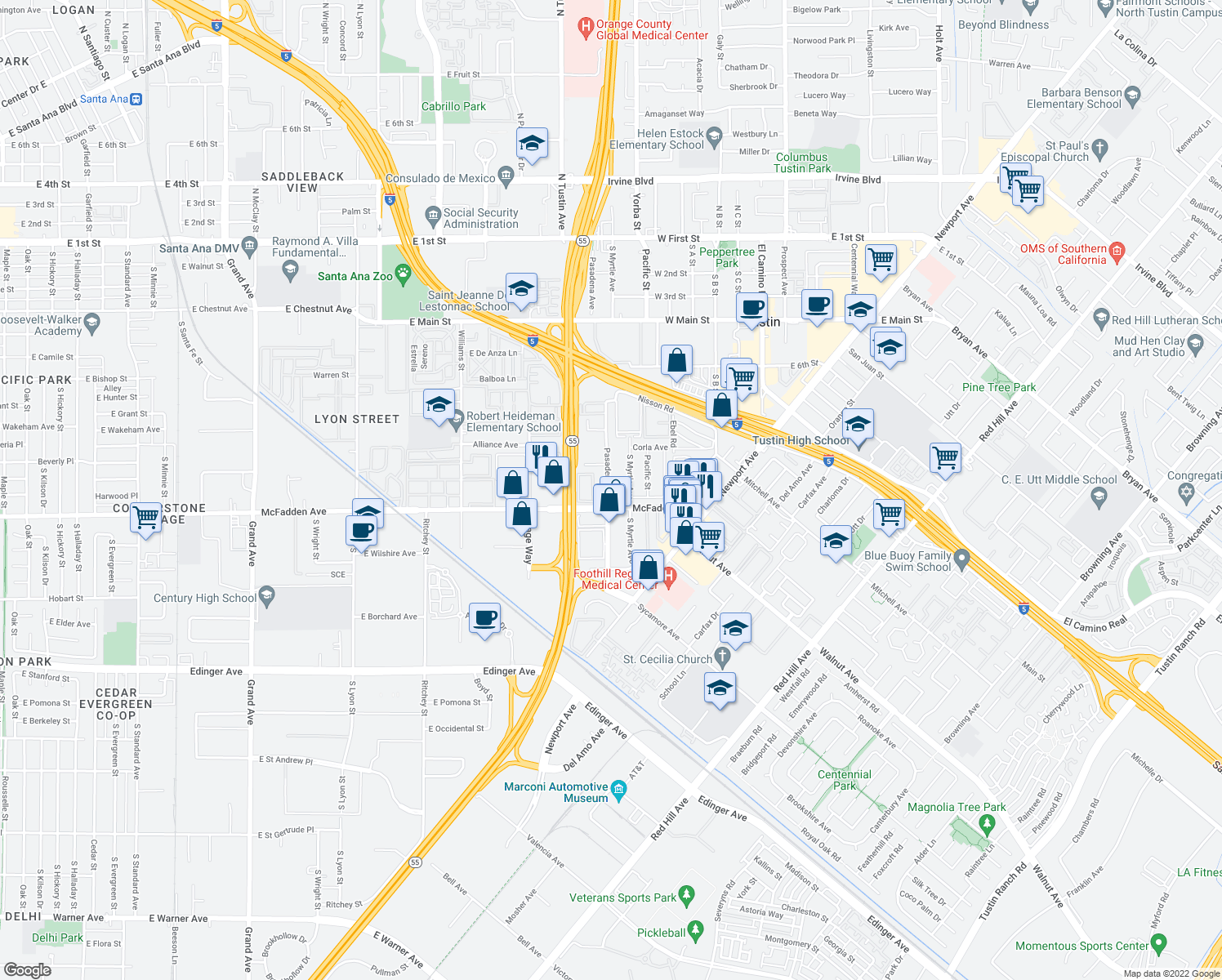 map of restaurants, bars, coffee shops, grocery stores, and more near 15712 Pasadena Avenue in Tustin