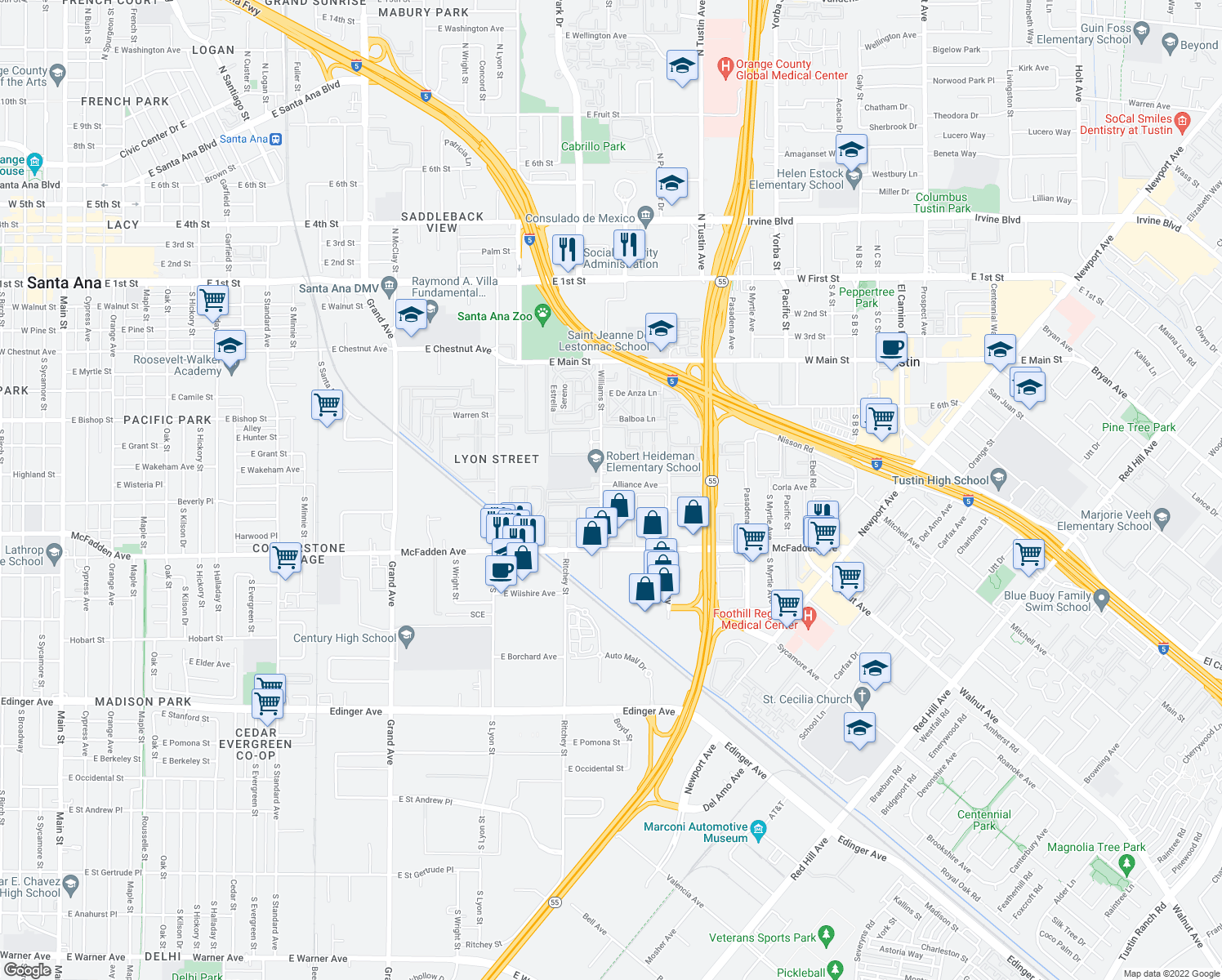 map of restaurants, bars, coffee shops, grocery stores, and more near 16522 Alliance Avenue in Tustin