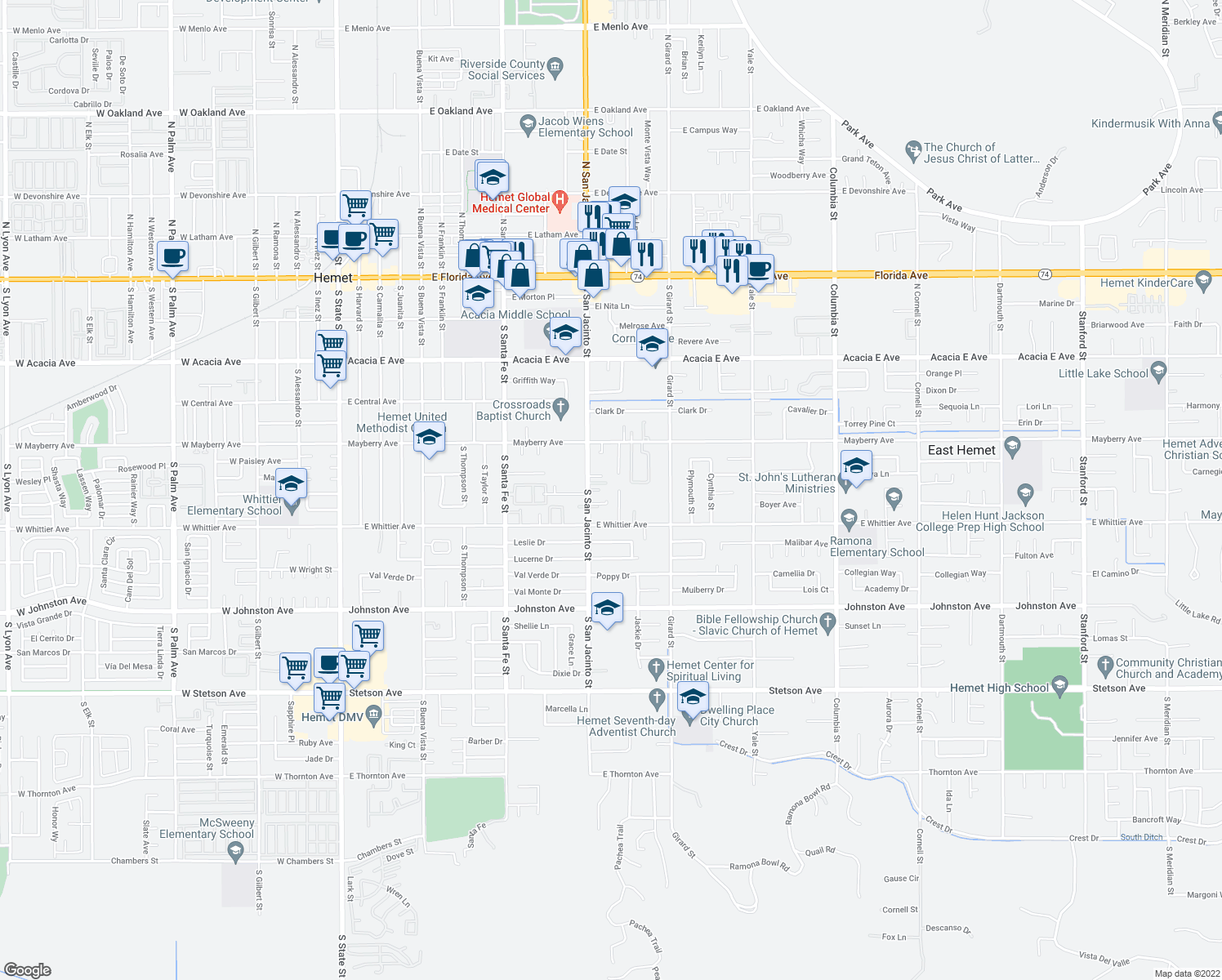 map of restaurants, bars, coffee shops, grocery stores, and more near 26393 Olive Drive in Hemet