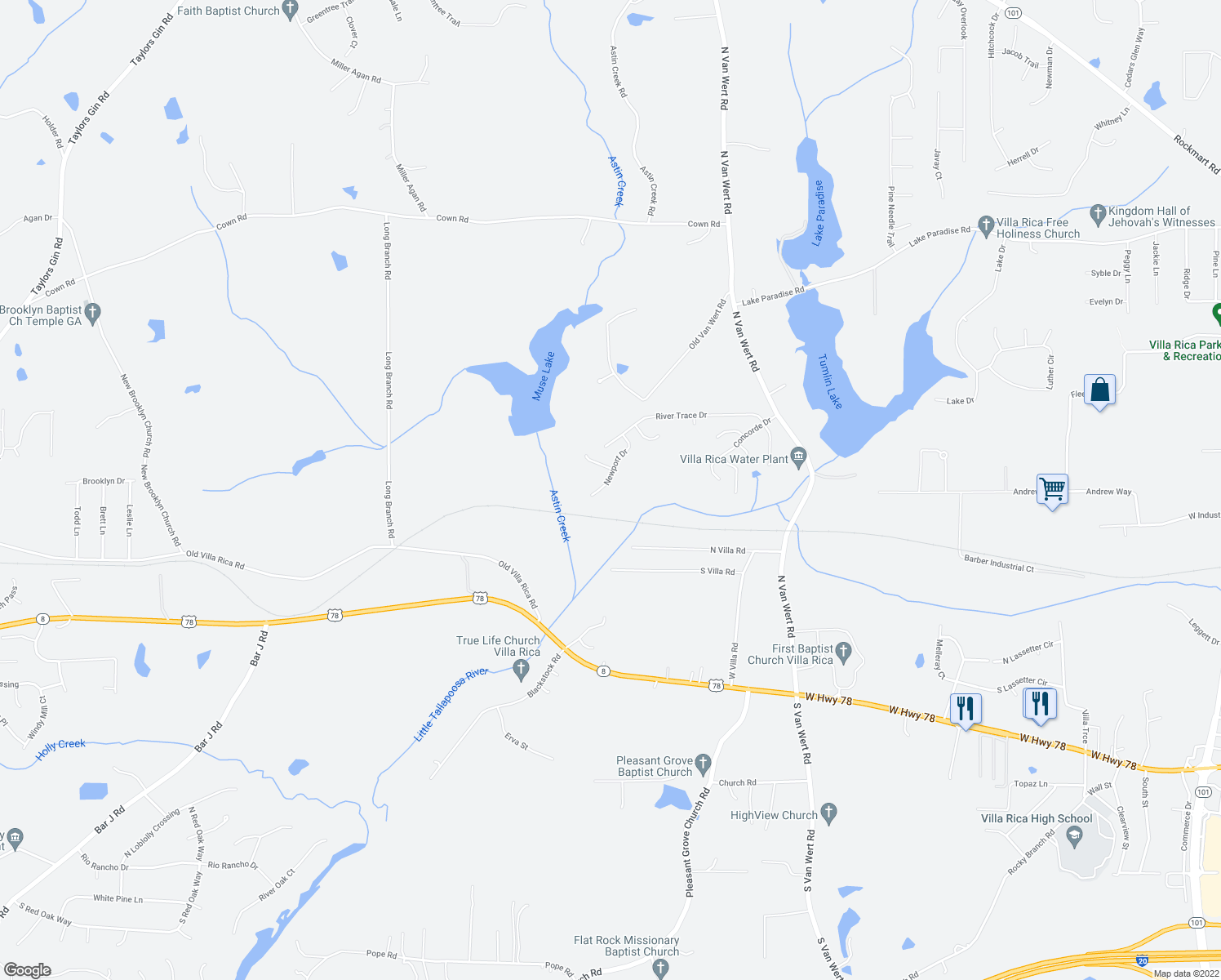 map of restaurants, bars, coffee shops, grocery stores, and more near 748 Newport Drive in Villa Rica