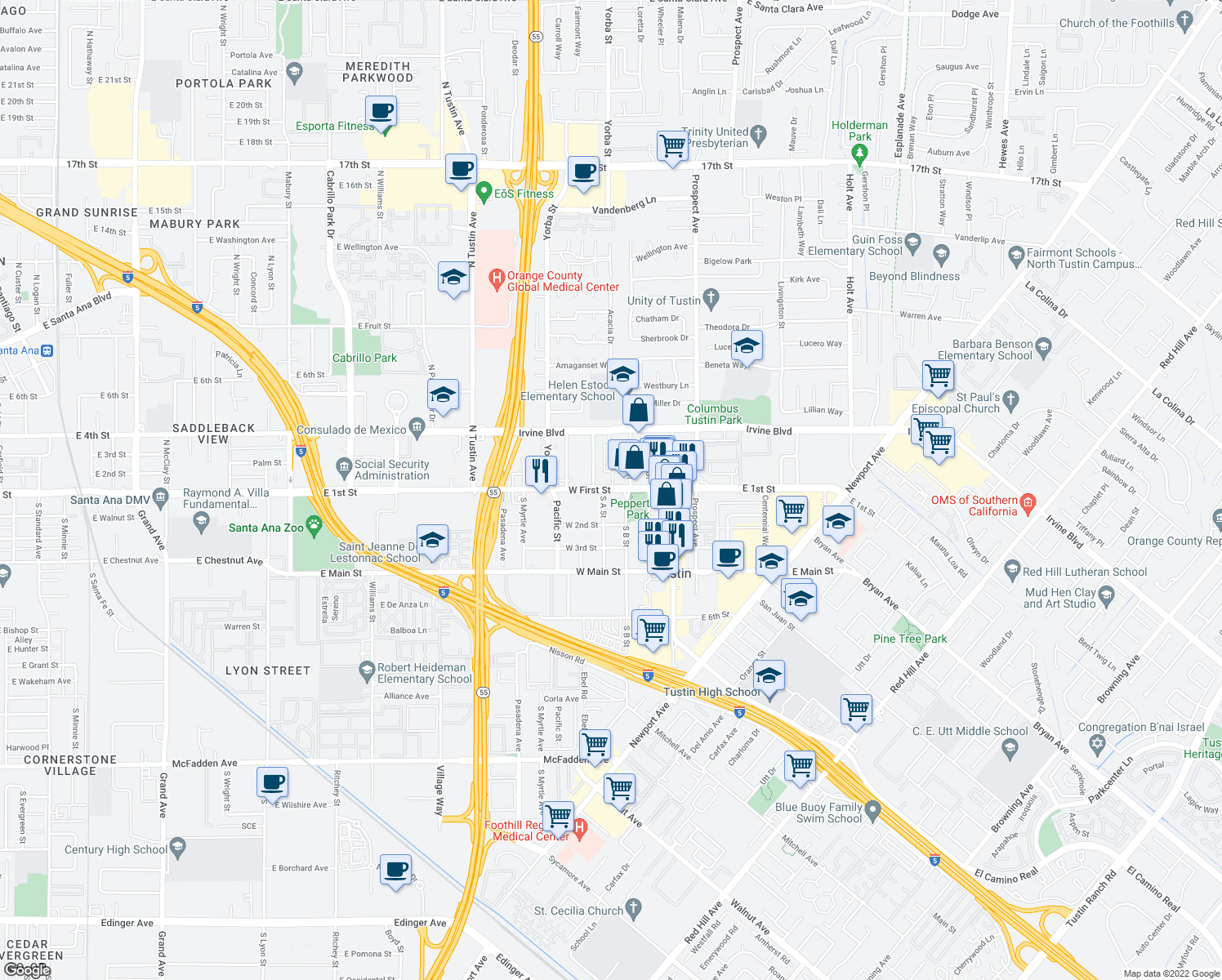 map of restaurants, bars, coffee shops, grocery stores, and more near 312 West First Street in Tustin