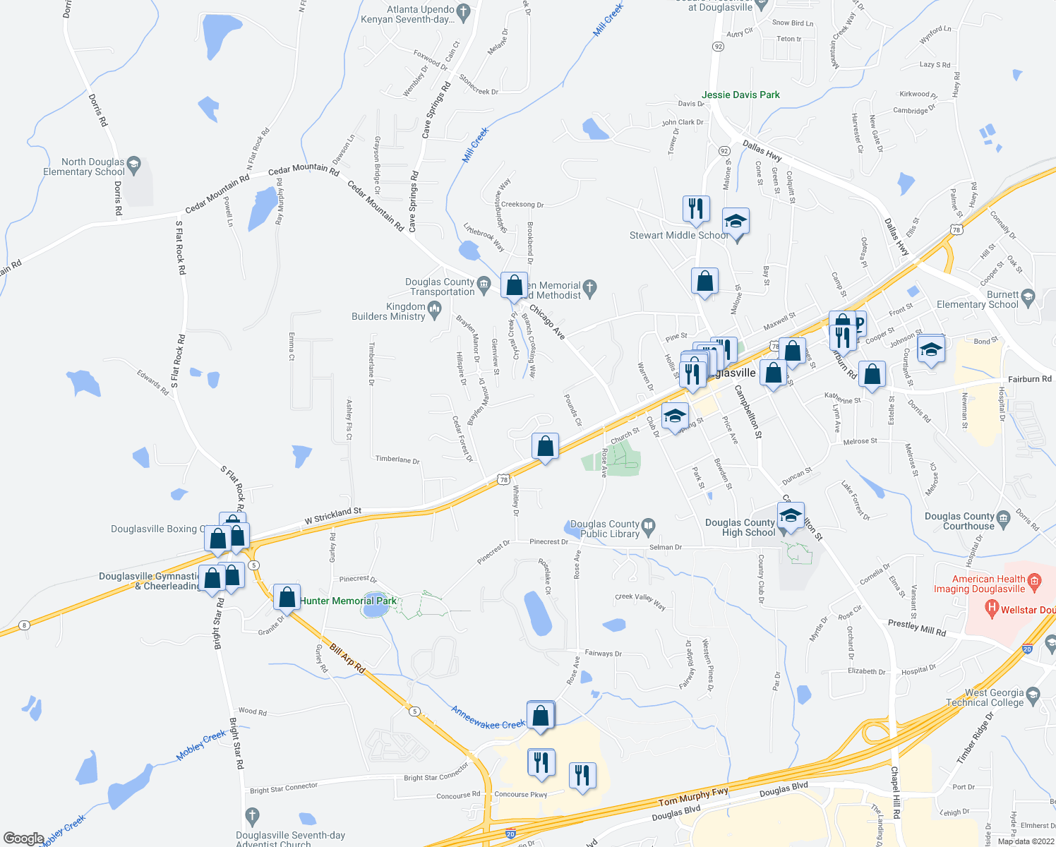 map of restaurants, bars, coffee shops, grocery stores, and more near 7101 Strickland Street in Douglasville