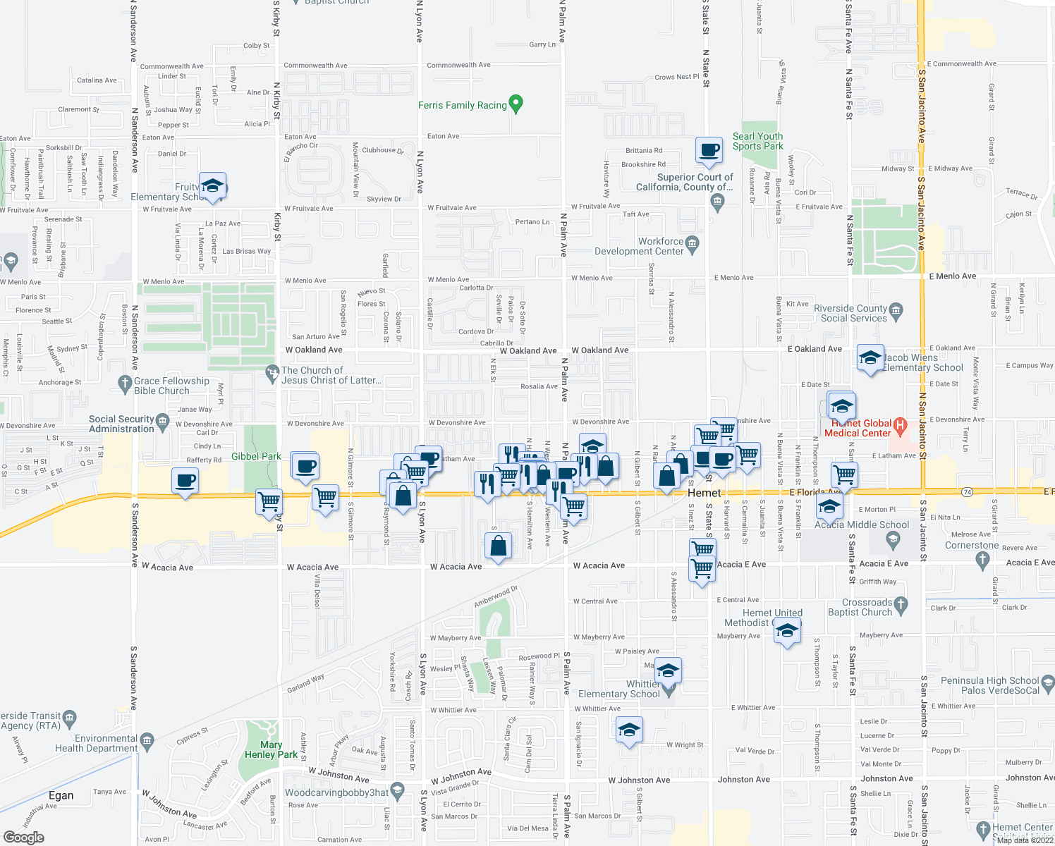 map of restaurants, bars, coffee shops, grocery stores, and more near 1018 West Devonshire Avenue in Hemet