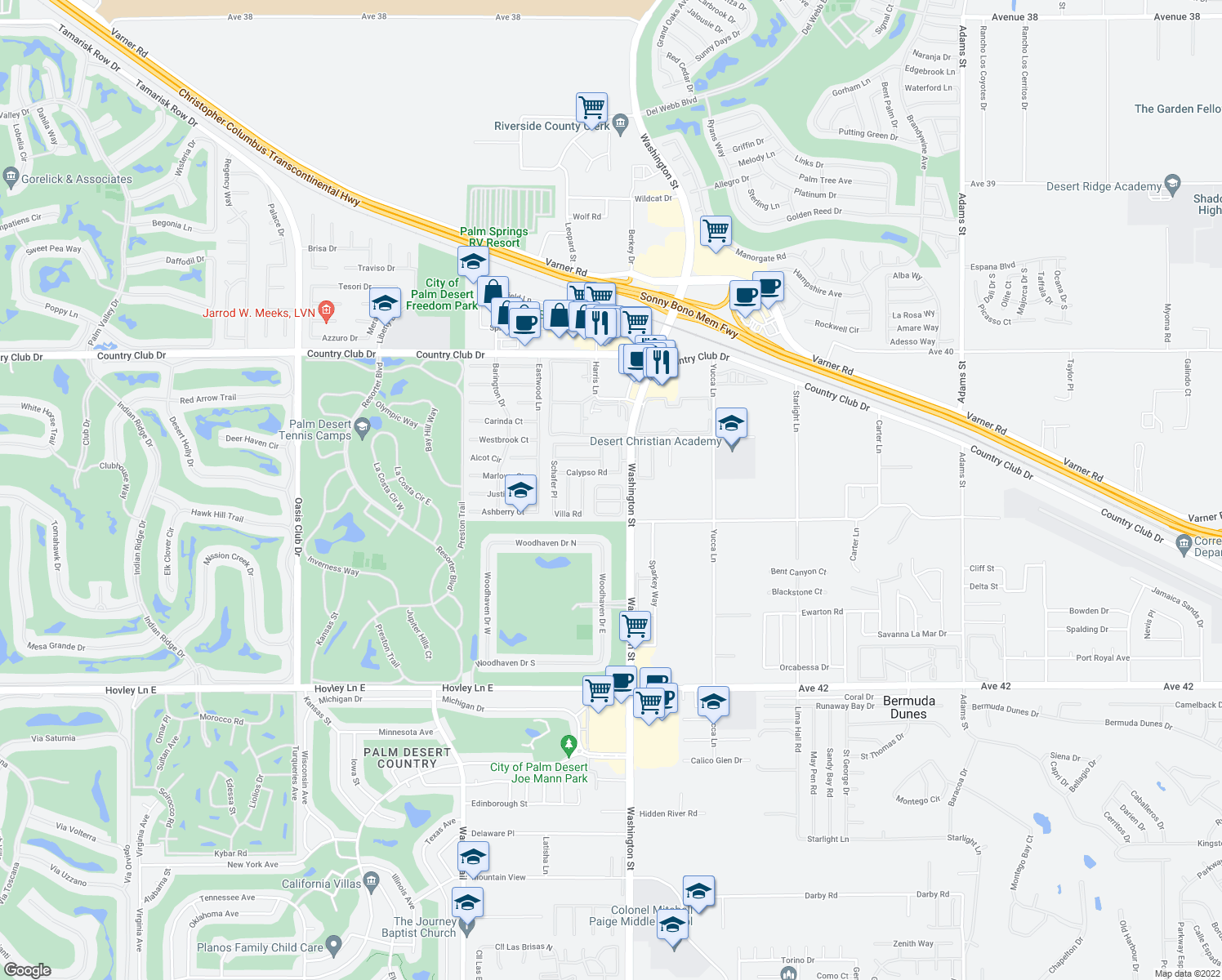 map of restaurants, bars, coffee shops, grocery stores, and more near 40870 Sandy Gale Lane in Palm Desert