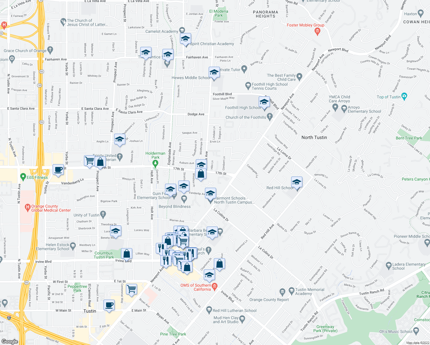 map of restaurants, bars, coffee shops, grocery stores, and more near 17th St & Berrington Ct in Santa Ana