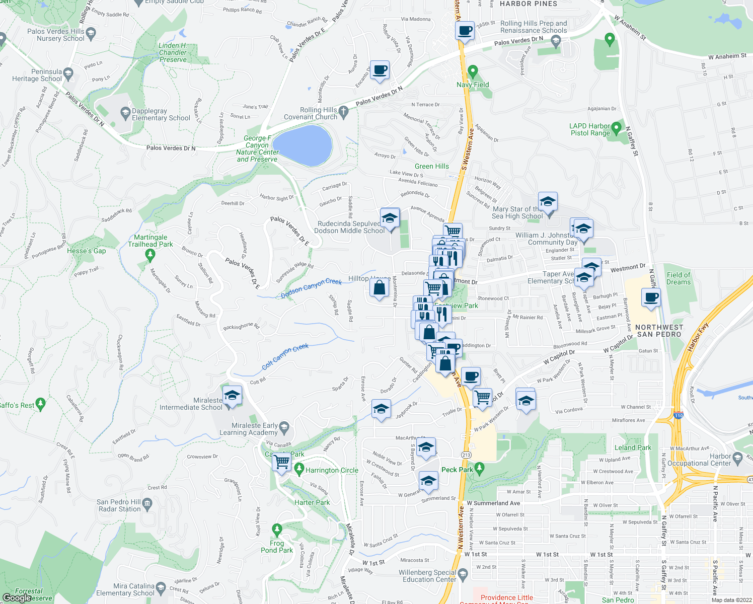 map of restaurants, bars, coffee shops, grocery stores, and more near 2049 Santa Rena Drive in Rancho Palos Verdes