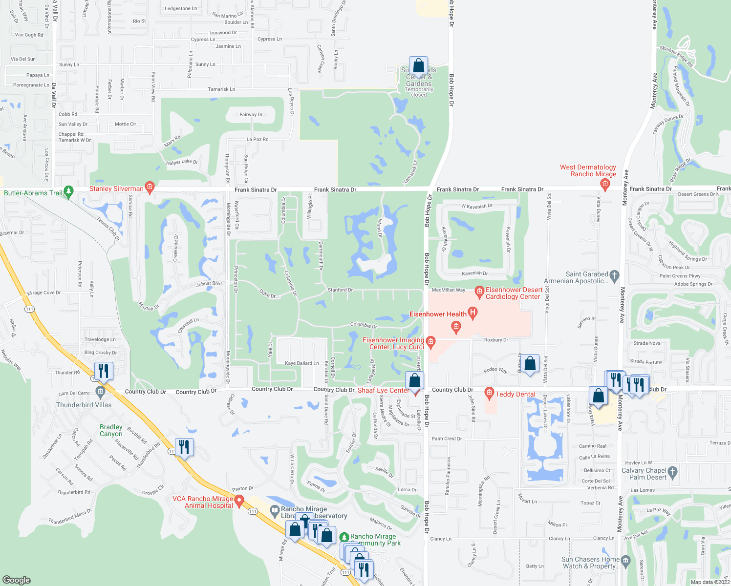 map of restaurants, bars, coffee shops, grocery stores, and more near 1 Seton Court in Rancho Mirage