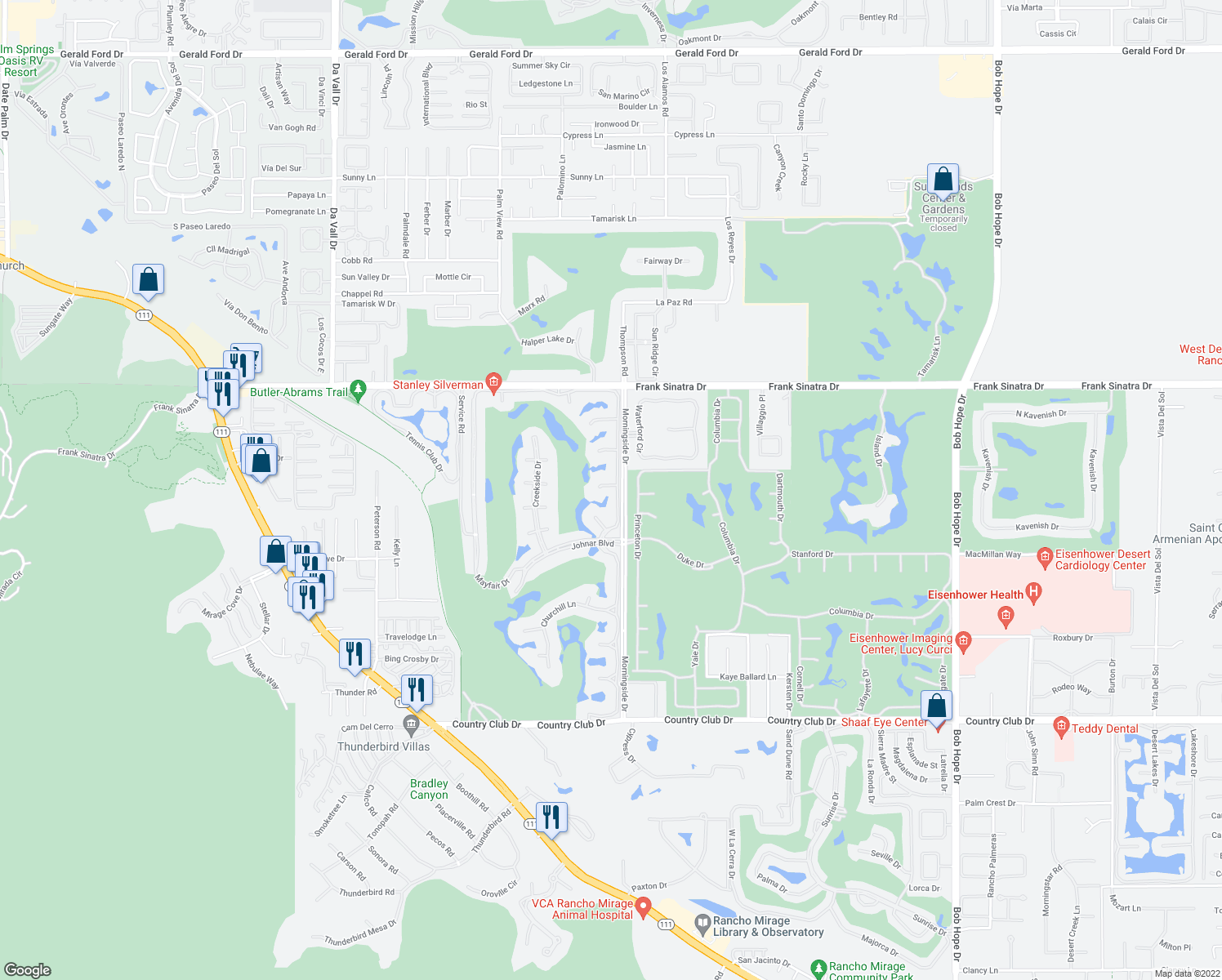 map of restaurants, bars, coffee shops, grocery stores, and more near 12 Sussex Court in Rancho Mirage