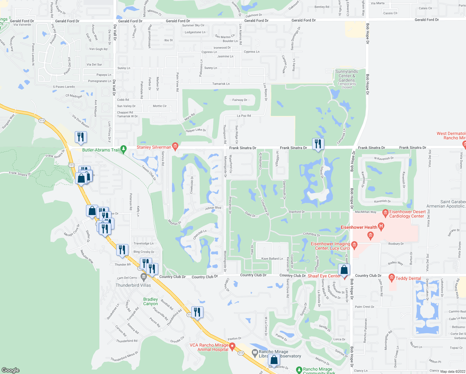 map of restaurants, bars, coffee shops, grocery stores, and more near 10 Temple Court in Rancho Mirage