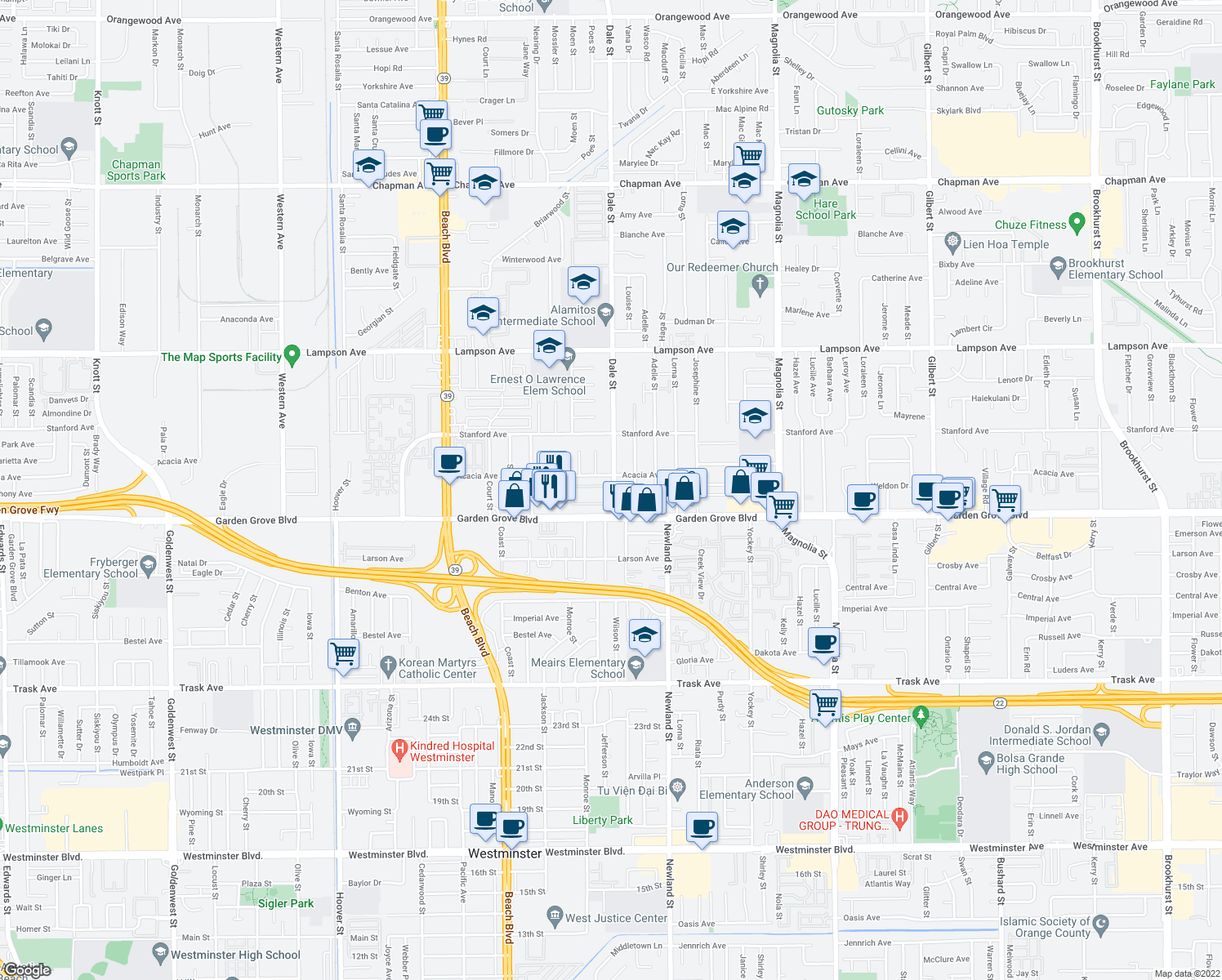 map of restaurants, bars, coffee shops, grocery stores, and more near 13001-13077 Dale Street in Garden Grove