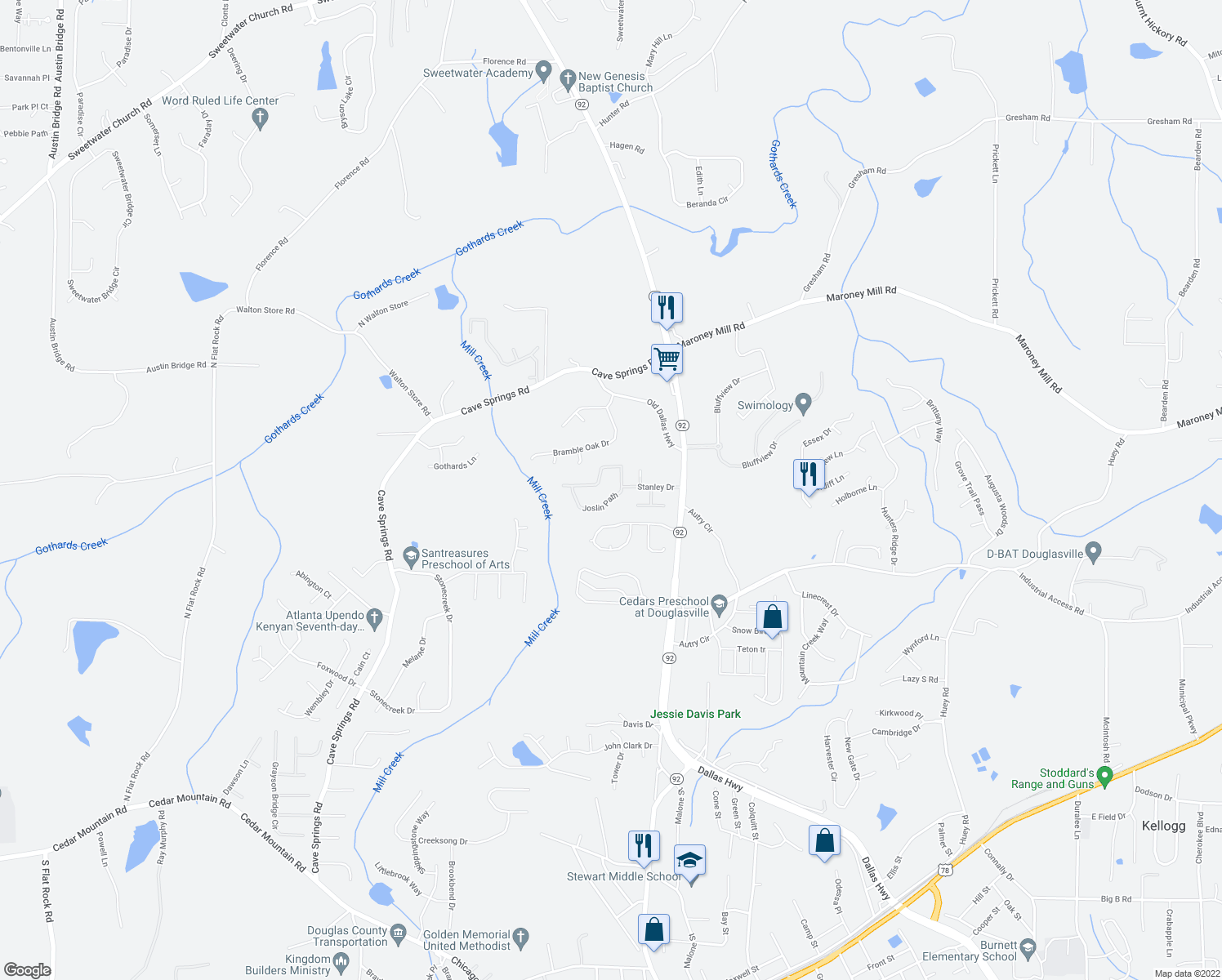 map of restaurants, bars, coffee shops, grocery stores, and more near 1126 Joslin Path in Douglasville