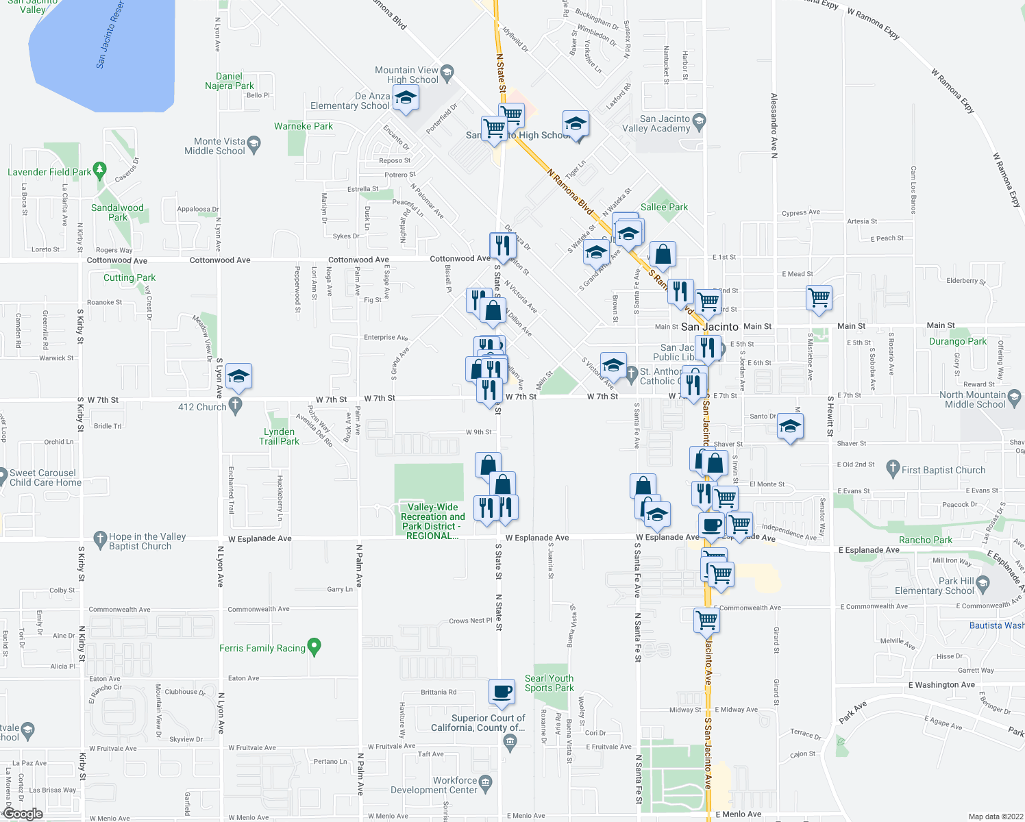 map of restaurants, bars, coffee shops, grocery stores, and more near 789 South State Street in San Jacinto