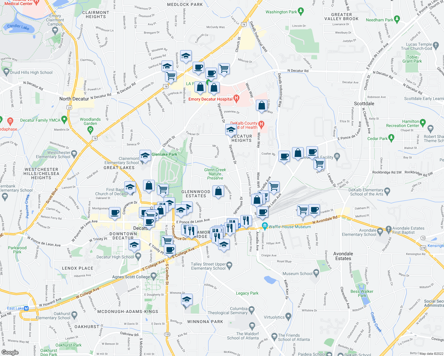 map of restaurants, bars, coffee shops, grocery stores, and more near 115 Fairview Street in Decatur