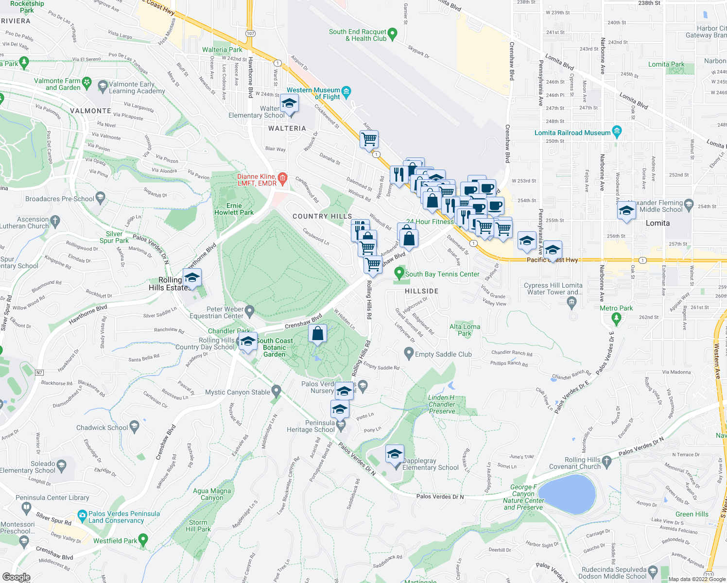 map of restaurants, bars, coffee shops, grocery stores, and more near 25935 Rolling Hills Road in Torrance