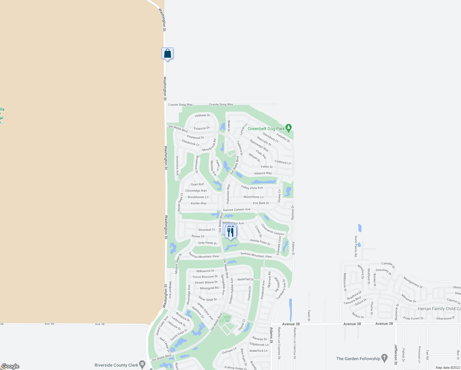 map of restaurants, bars, coffee shops, grocery stores, and more near 35774 Palomino Way in Palm Desert