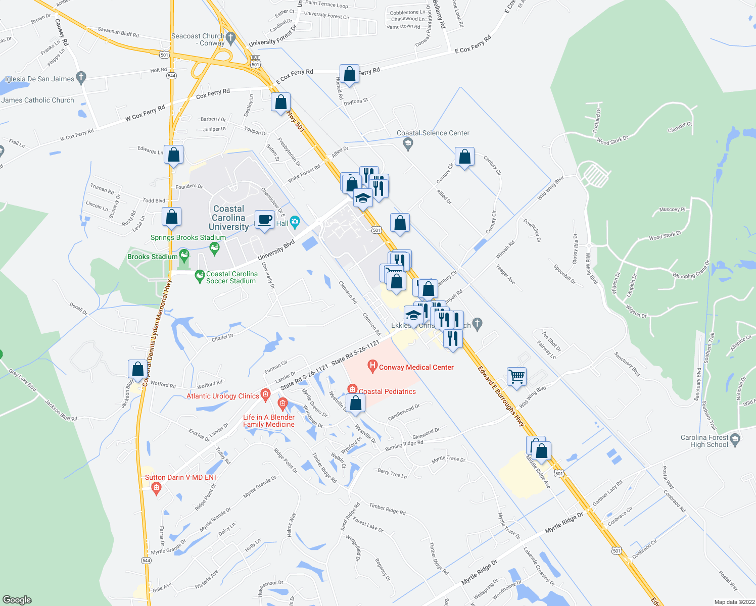 map of restaurants, bars, coffee shops, grocery stores, and more near 2241 Technology Boulevard in Conway