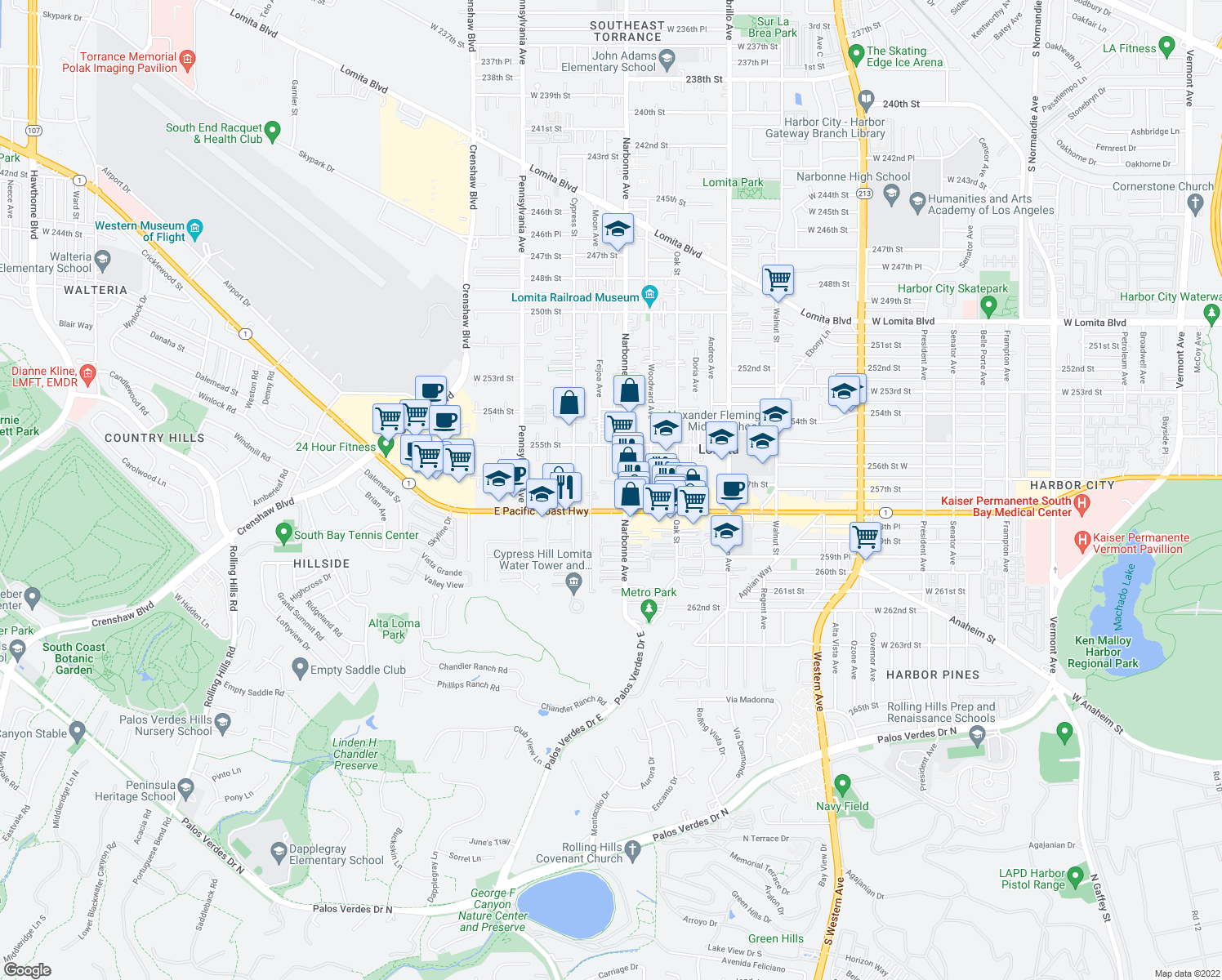 map of restaurants, bars, coffee shops, grocery stores, and more near 25625 Narbonne Avenue in Lomita