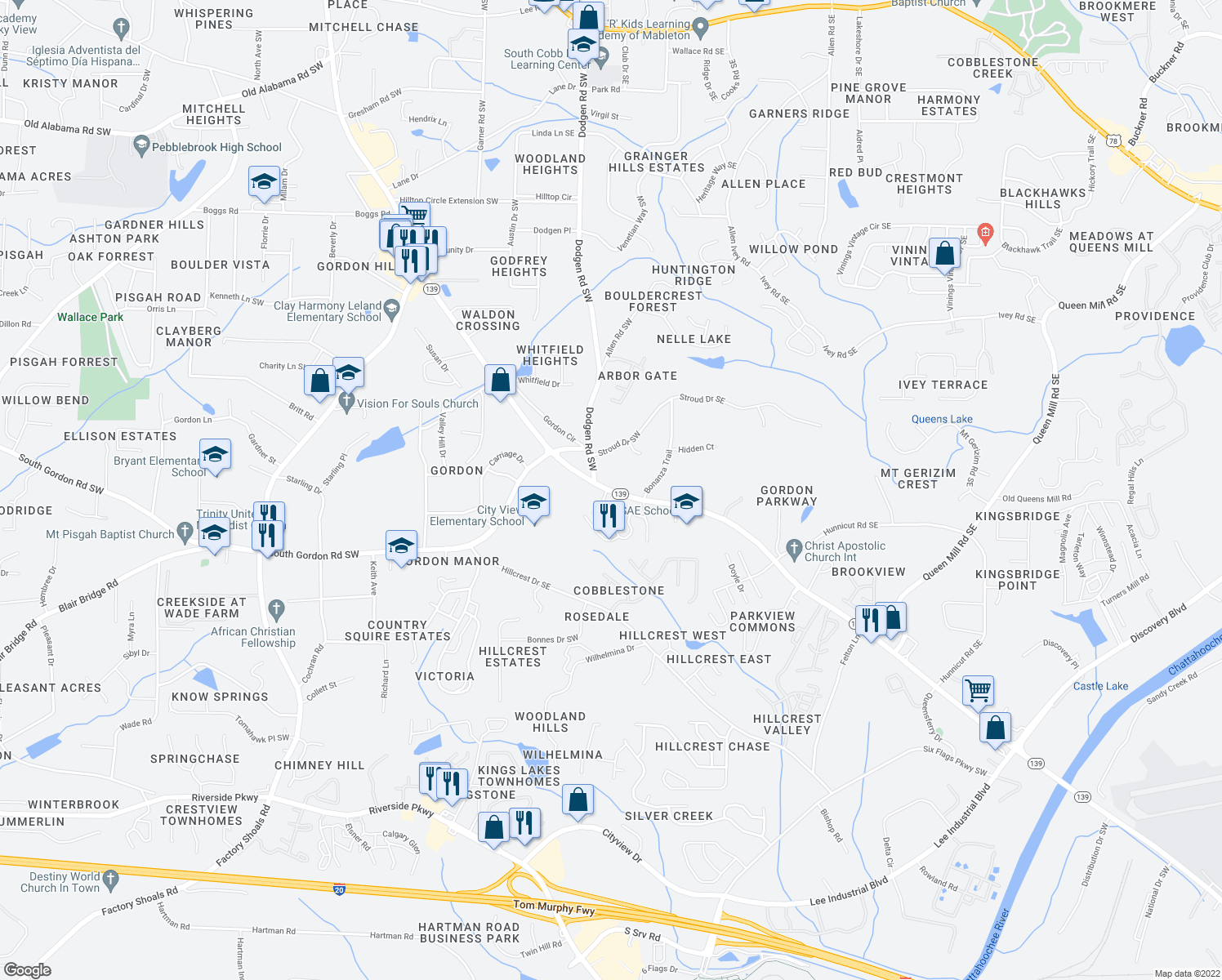 map of restaurants, bars, coffee shops, grocery stores, and more near 6600 Mableton Parkway Southwest in Mableton