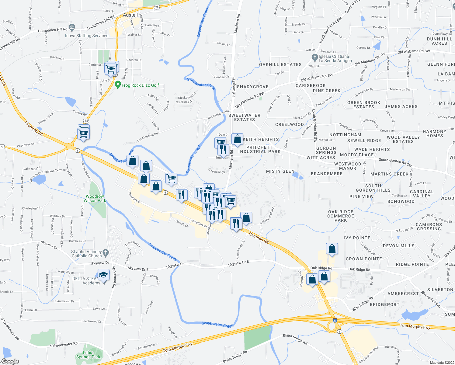 map of restaurants, bars, coffee shops, grocery stores, and more near 500 Maxham Rd in Lithia Springs