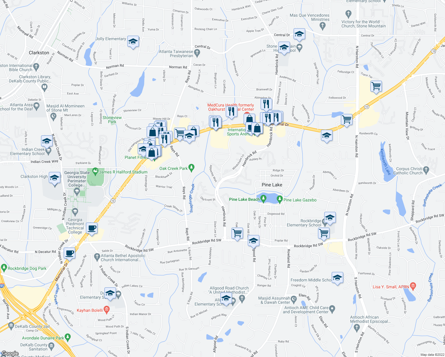 map of restaurants, bars, coffee shops, grocery stores, and more near 500-518 Windchase Lane in Stone Mountain