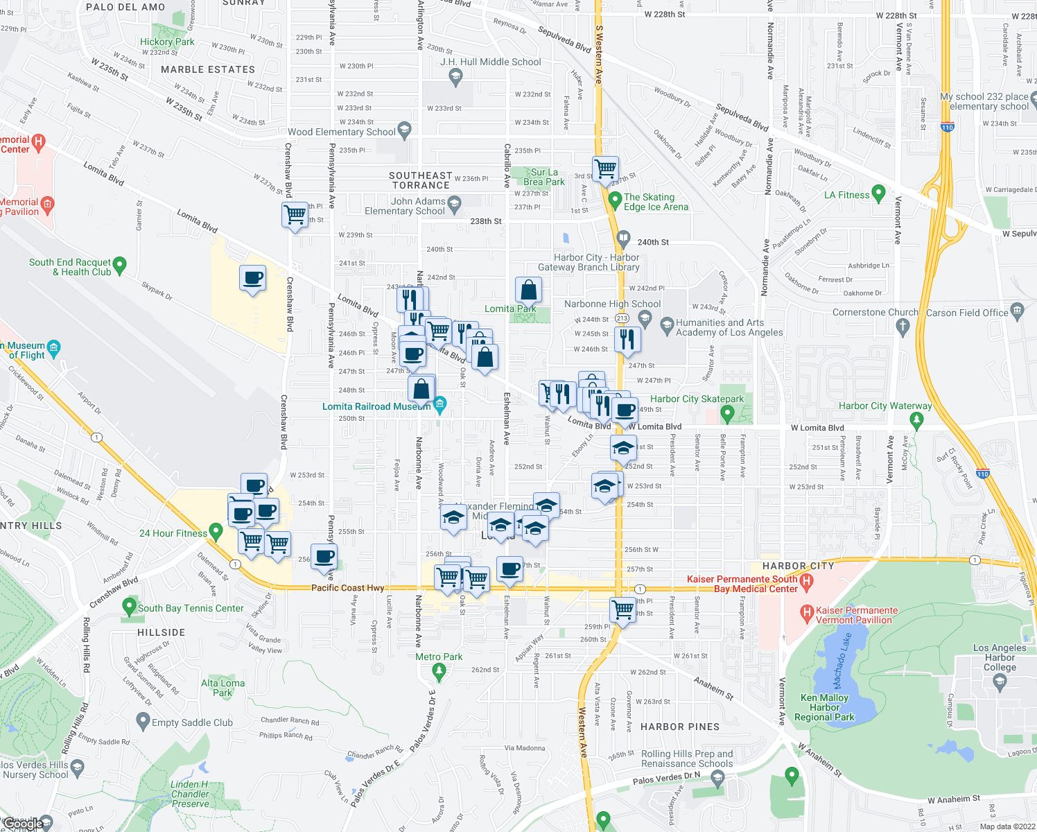 map of restaurants, bars, coffee shops, grocery stores, and more near 25004 Eshelman Avenue in Lomita