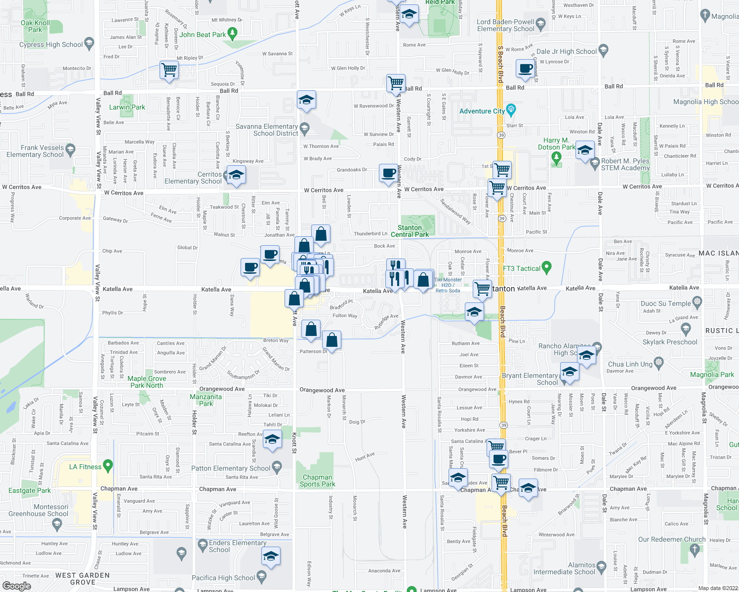 map of restaurants, bars, coffee shops, grocery stores, and more near 11059 Dudley Way in Stanton