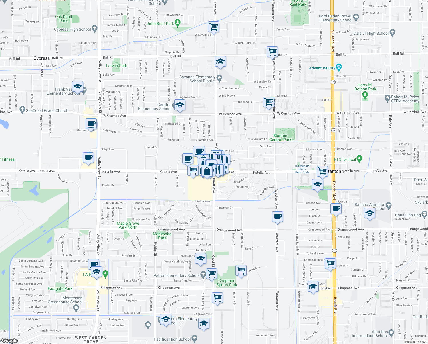 map of restaurants, bars, coffee shops, grocery stores, and more near Katella Avenue & Knott Avenue in Stanton