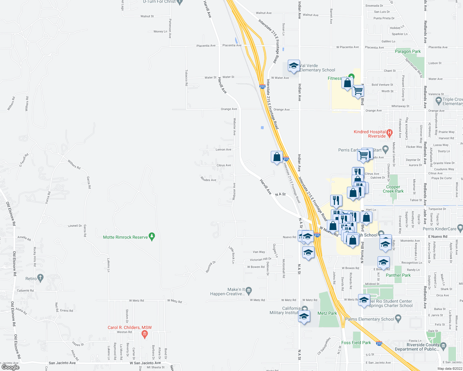 map of restaurants, bars, coffee shops, grocery stores, and more near 21595 Webster Avenue in Perris