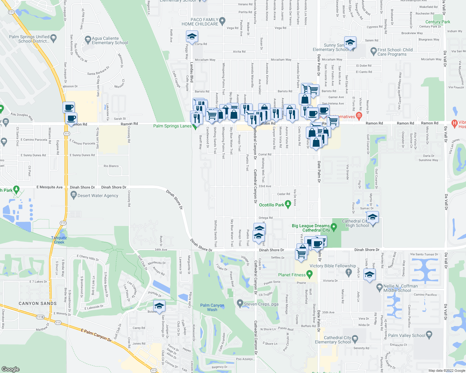 map of restaurants, bars, coffee shops, grocery stores, and more near 33033 Sky Blue Water Trail in Cath