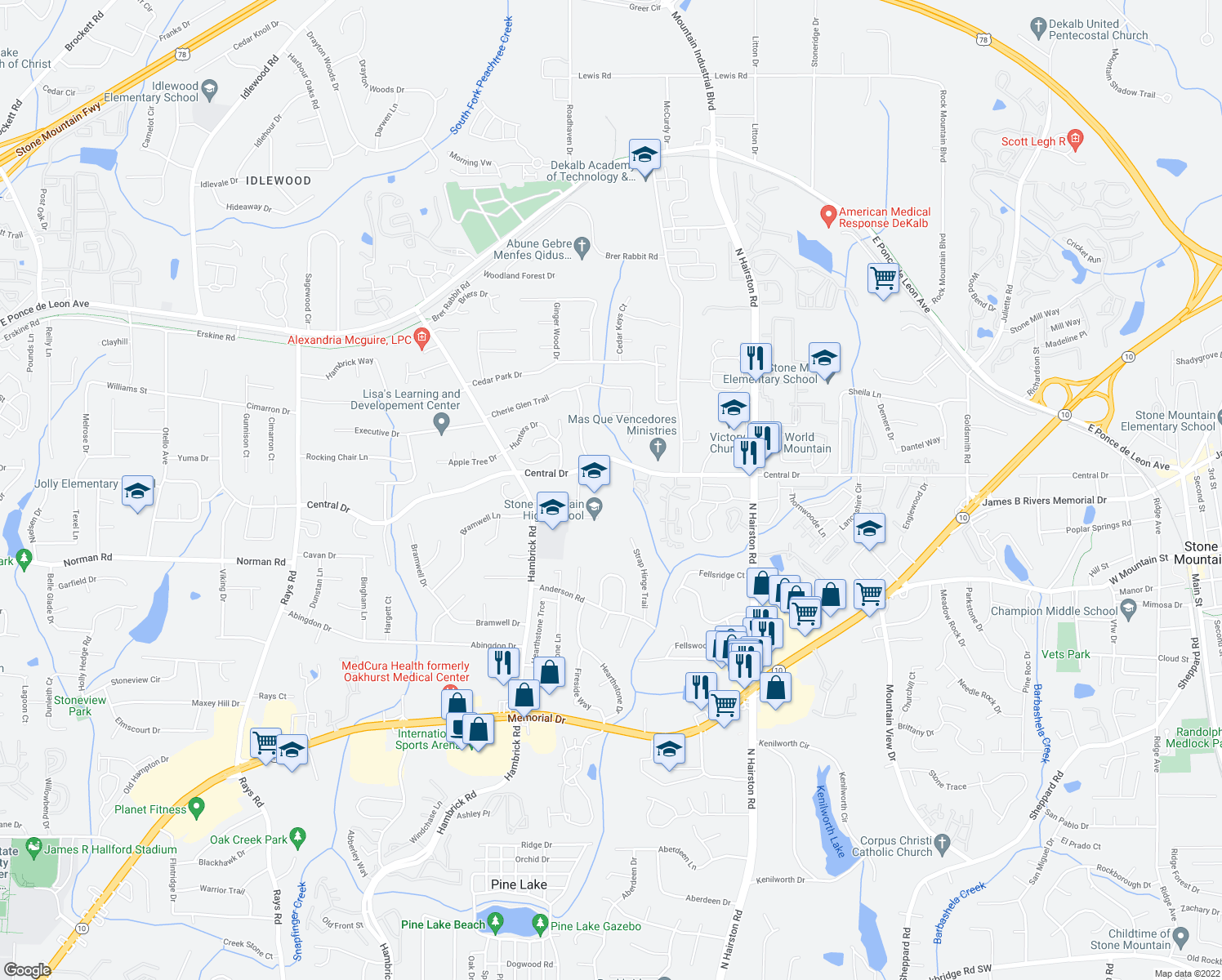 map of restaurants, bars, coffee shops, grocery stores, and more near 4589 Central Drive in Stone Mountain