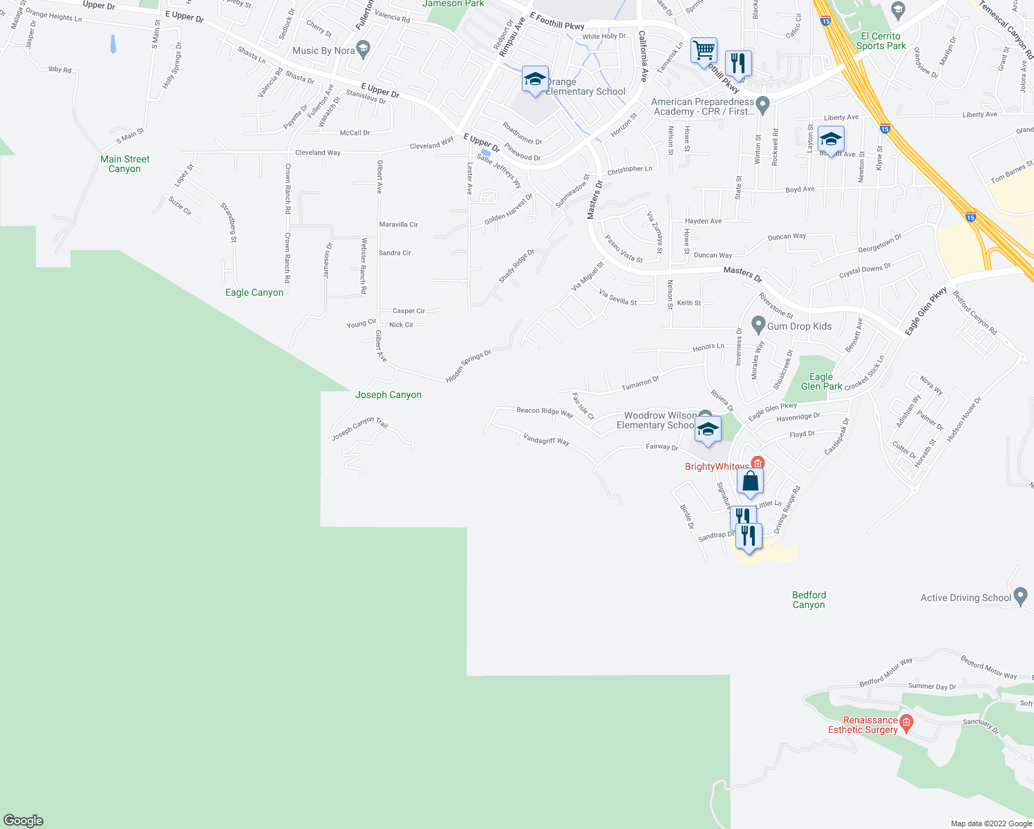 map of restaurants, bars, coffee shops, grocery stores, and more near 1514 Beacon Ridge Way in Corona