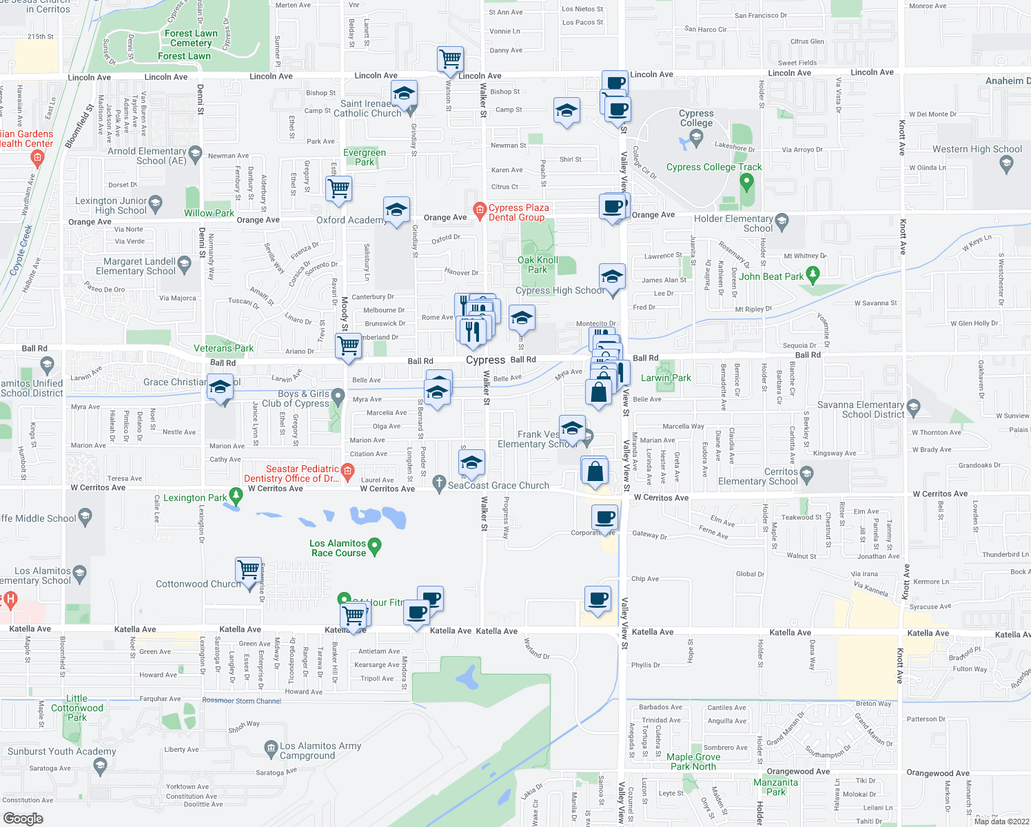 map of restaurants, bars, coffee shops, grocery stores, and more near Lorraine Lane in Cypress