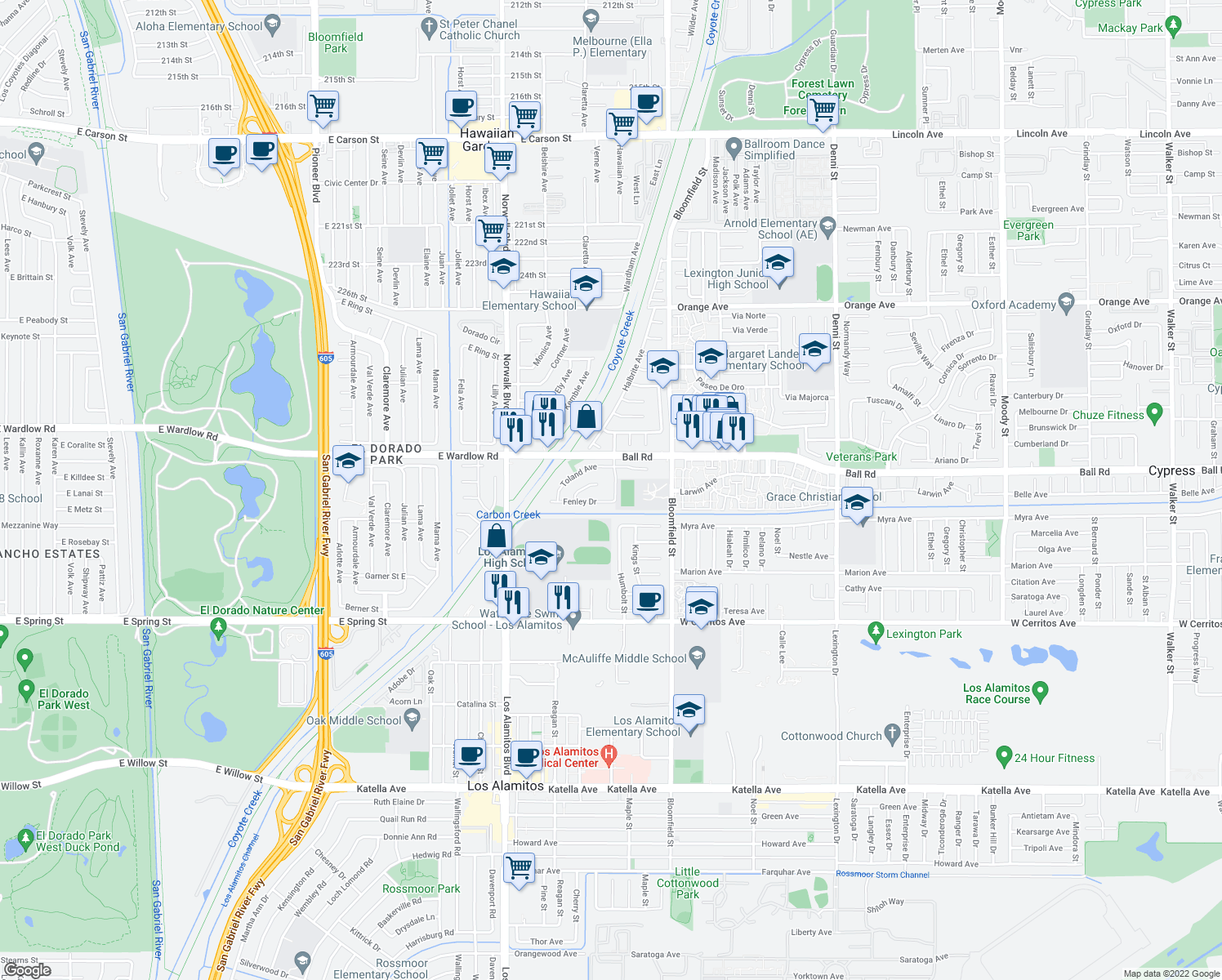 map of restaurants, bars, coffee shops, grocery stores, and more near 10061 Kaylor Avenue in Los Alamitos