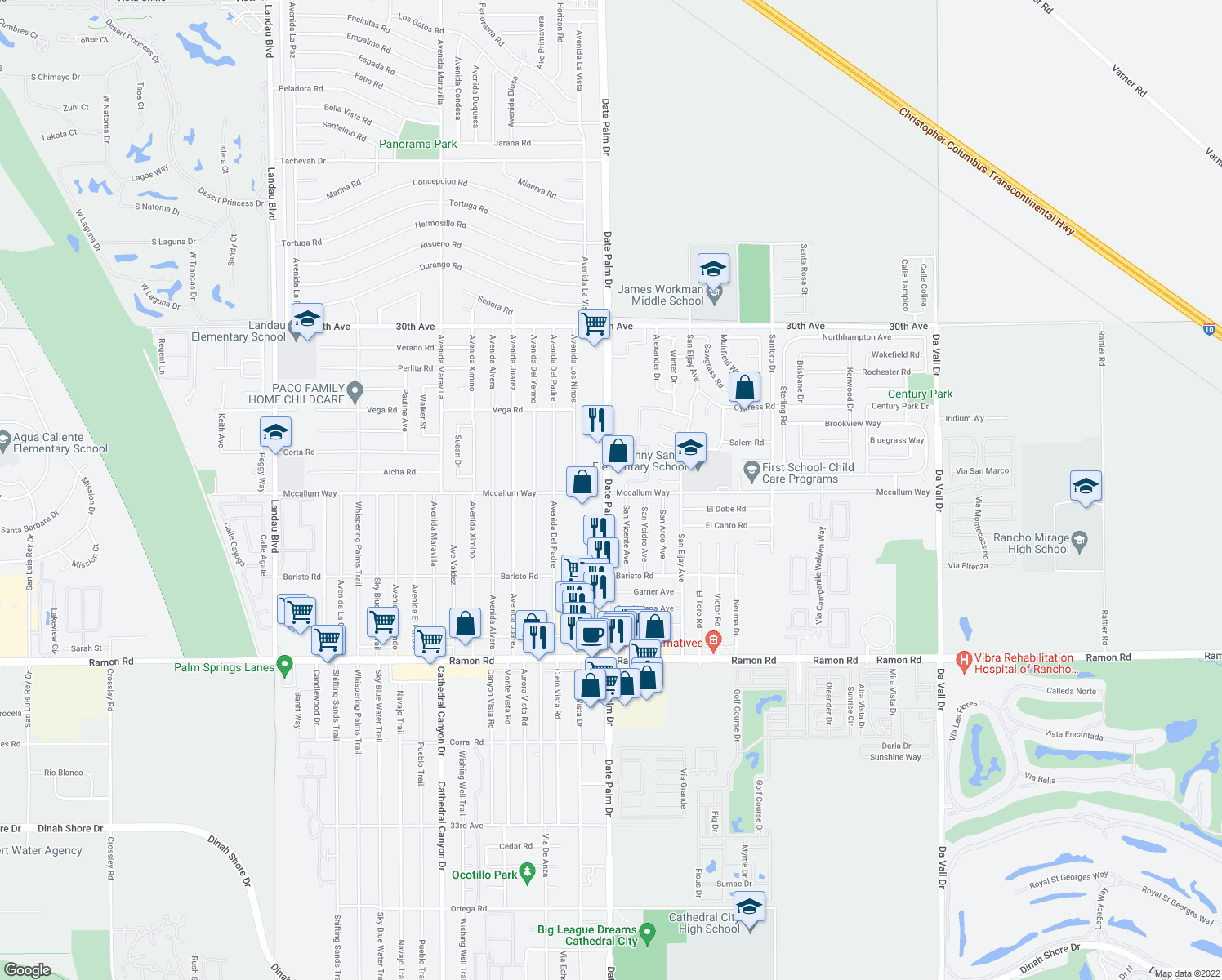 map of restaurants, bars, coffee shops, grocery stores, and more near 30877 Date Palm Drive in Cathedral City