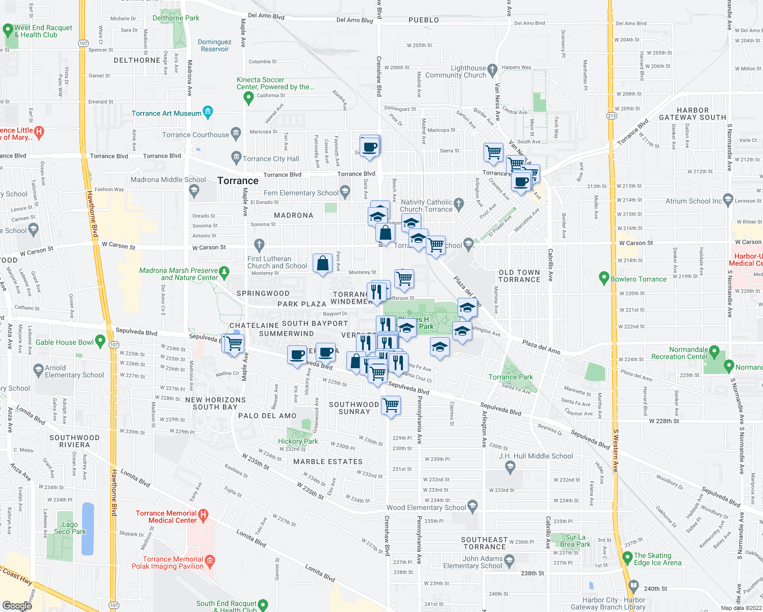 map of restaurants, bars, coffee shops, grocery stores, and more near Crenshaw Boulevard & Plaza Del Amo in Torrance