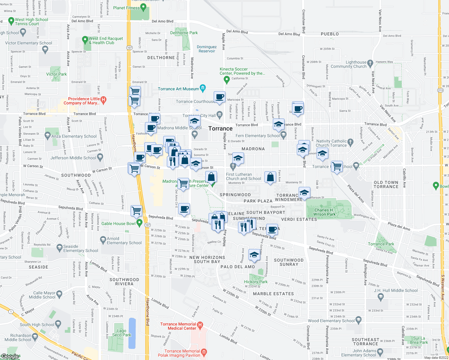 map of restaurants, bars, coffee shops, grocery stores, and more near 1745 Maple Avenue in Torrance