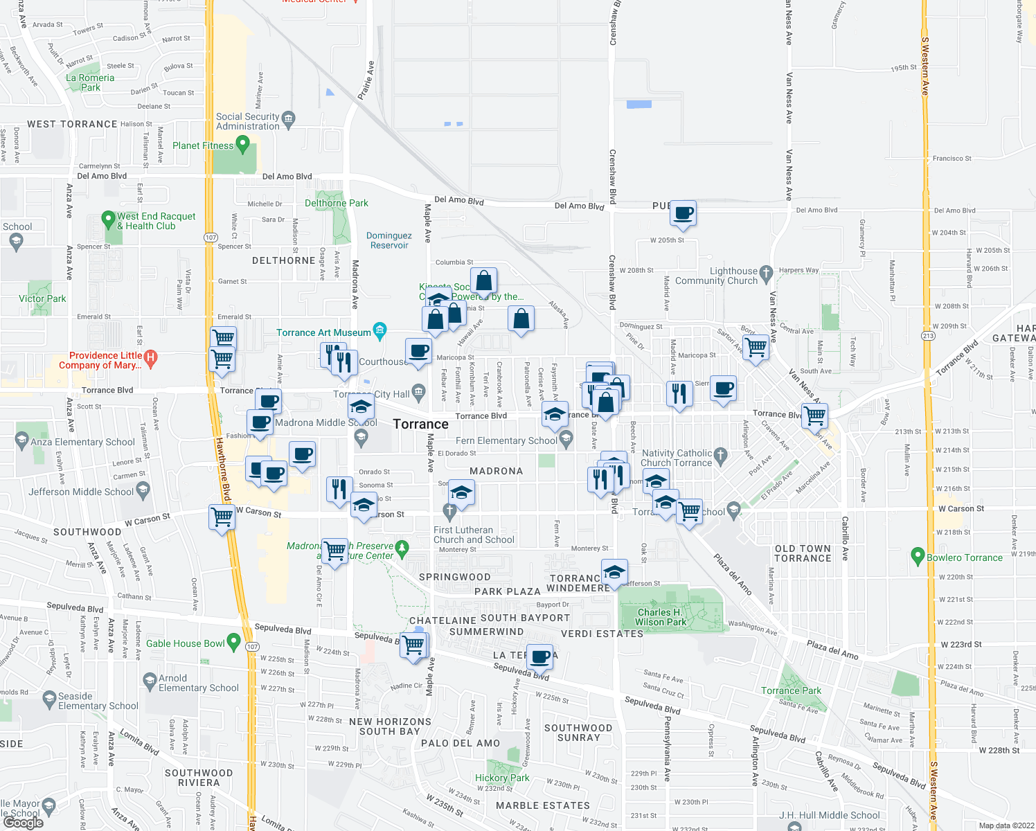 map of restaurants, bars, coffee shops, grocery stores, and more near Torrance Boulevard in Torrance